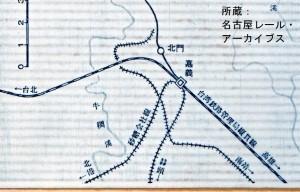 阿里山森林鉄道路線図(嘉義駅周辺)