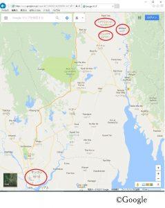ヤンゴン~ピュンタサ 地図